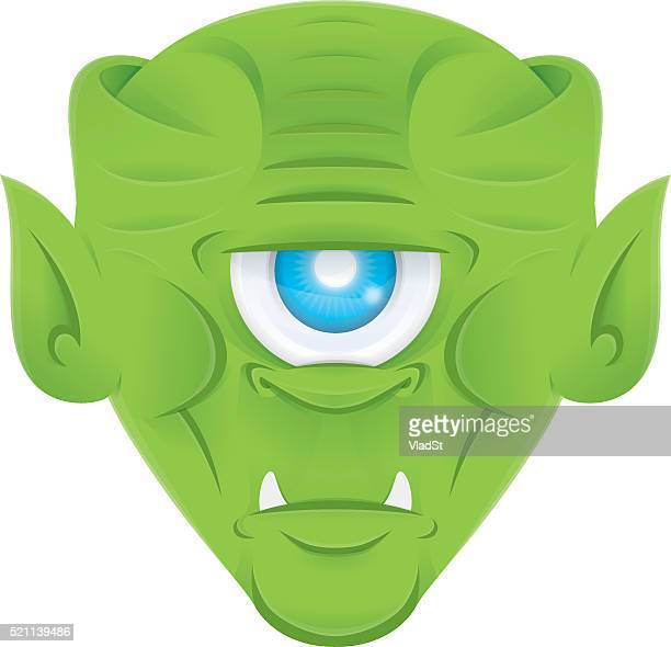 alien one-eyed monster cycplope green scary creature head - cyclops stock illustrations, clip art, cartoons, & icons