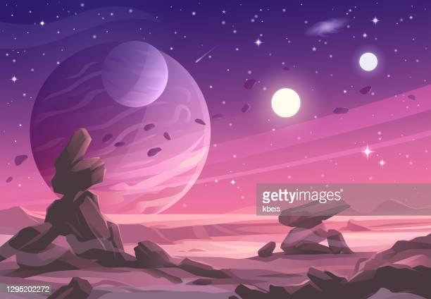 alien planet landscape under a purple sky - copy space stock illustrations