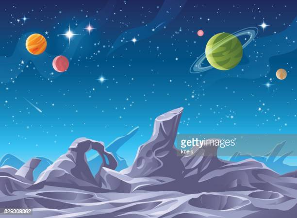 alien planet surface - planet space stock illustrations