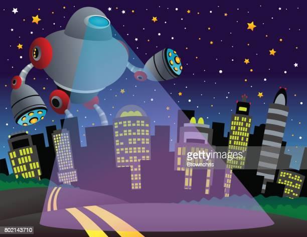 alien robot city - d day stock illustrations
