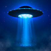 UFO. Alien spacecraft with light beam and fog. UFO Vector Illustration