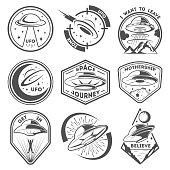 Alien spaceship, spacecrafts and ufo emblems set. Cosmic ship in form saucer for transportation. Monochrome UFO badges set