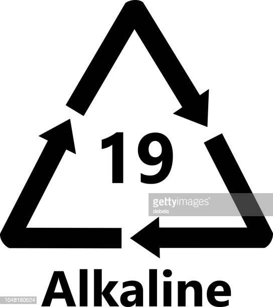 alkaline battery recycling sign - alkaline stock illustrations