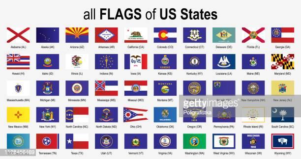 stockillustraties, clipart, cartoons en iconen met alle 50 amerikaanse staat vlaggen - alfabetisch - icon set - vector illustratie - maryland staat
