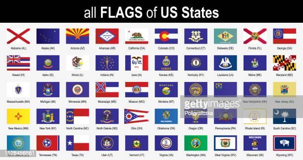 ilustrações, clipart, desenhos animados e ícones de de todos os 50 e.u. estados sinalizadores - em ordem alfabética - icon set - ilustração do vetor - maryland estado