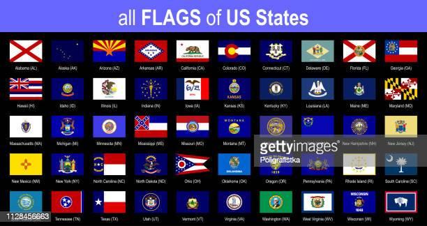 すべて 50 の米国の状態のフラグ - アルファベット順に - アイコンを設定 - ベクトル イラスト - 米メキシコ湾沿岸点のイラスト素材/クリップアート素材/マンガ素材/アイコン素材