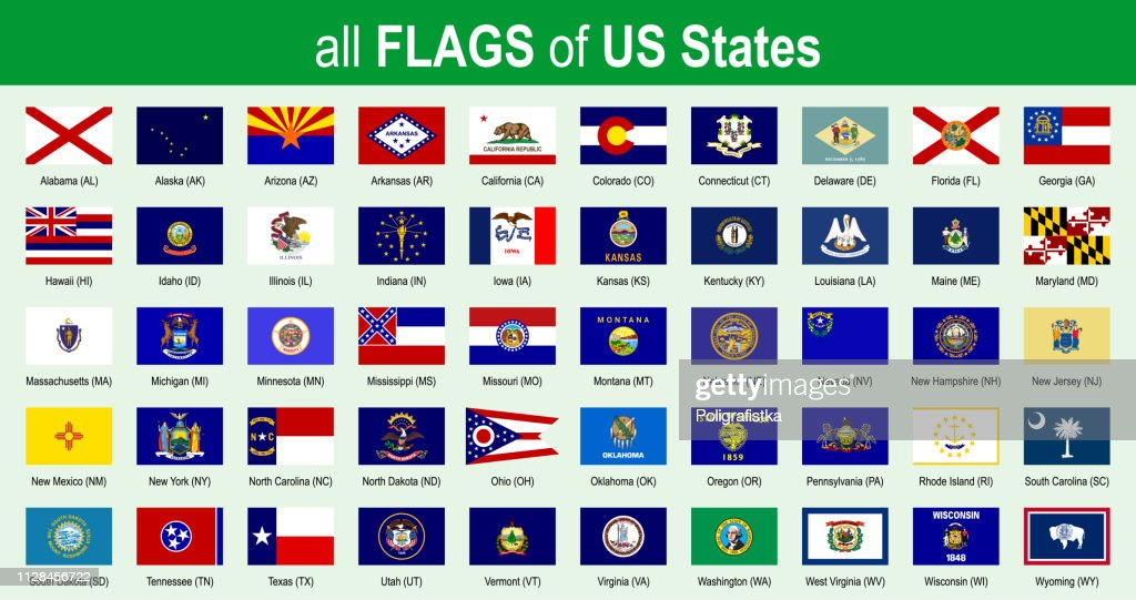 All 50 US State Flags - Alphabetically - Icon Set - Vector Illustration : stock illustration