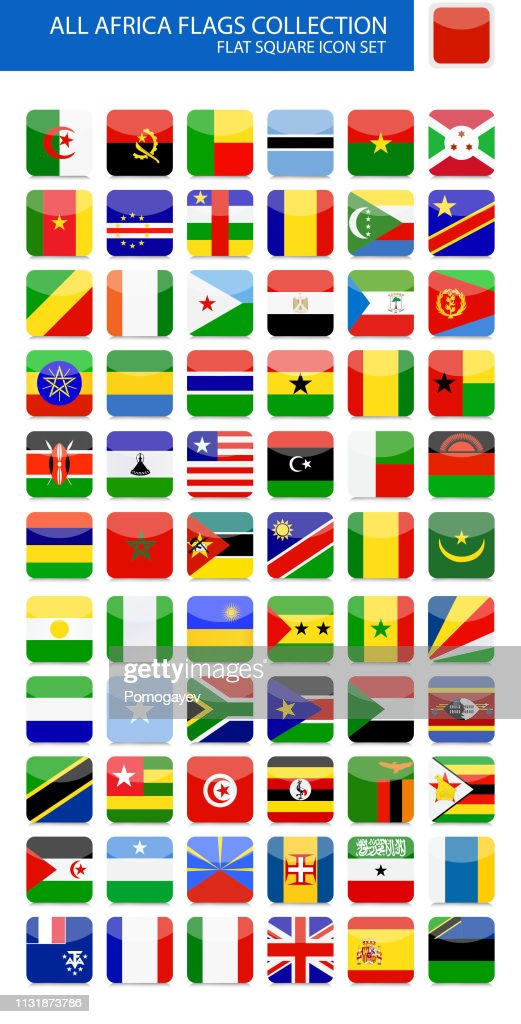 All Africa Flags Flat Rounded Square Icon Collection