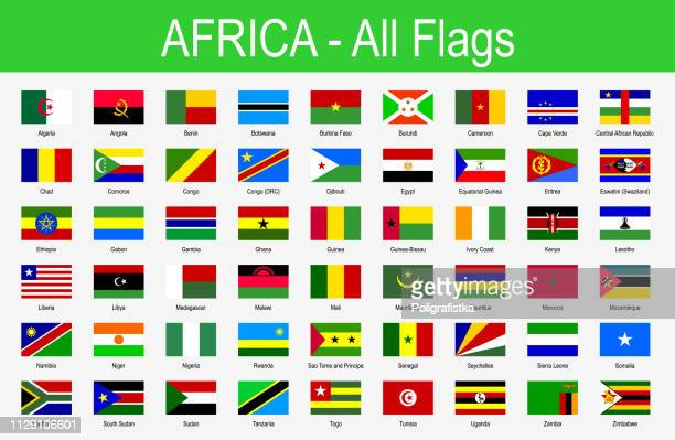 all african flags - icon set - vector illustration - ethiopia stock illustrations, clip art, cartoons, & icons