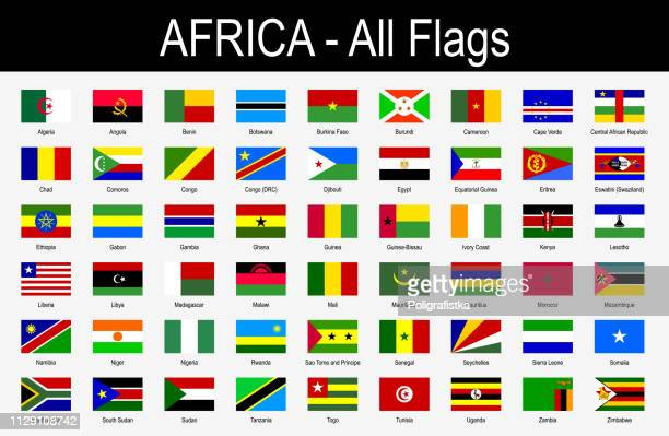 all african flags - icon set - vector illustration - swaziland stock illustrations
