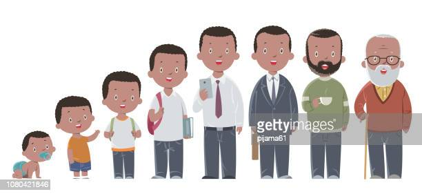 all age group of african american people.  the life cycle. a baby, a child, a teenager, an adult, an elderly person. - mature adult stock illustrations