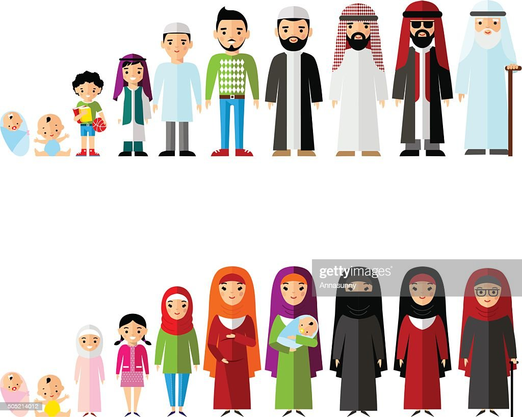 All age group of arab family. Generations man and woman.
