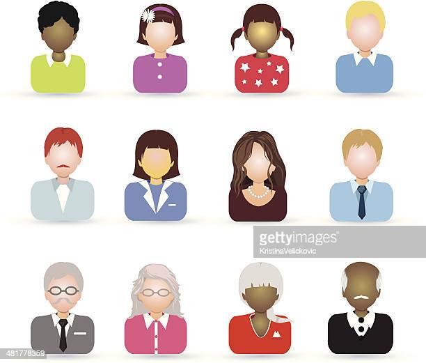 alle altersgruppen personen-symbol - teenager alter stock-grafiken, -clipart, -cartoons und -symbole