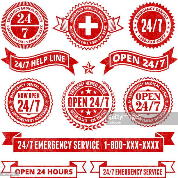 all day 24 7 emergency support badges grunge set - urgency stock illustrations