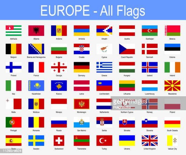 all european flags - icon set - vector illustration - croatian flag stock illustrations, clip art, cartoons, & icons