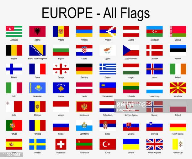 all european flags - icon set - vector illustration - saturated color stock illustrations