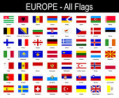 All European Flags - Icon Set - Vector Illustration