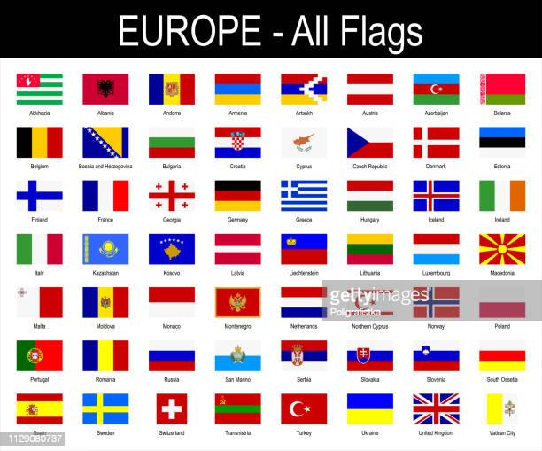 all european flags - icon set - vector illustration - all european flags stock illustrations