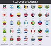 All flags of the countries of America. Pin map pointer glossy style.