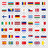 All flags of the countries of the European Union. List of all flags of European countries with inscriptions and original proportions on transparent background. Flags for your web site design, logo, app, UI. Vector illustration EPS10.