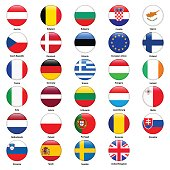 All flags of the countries of the European Union.