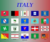 all flags of the regions of Italy,