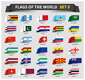All flags of the world set 5 . Waving ribbon style