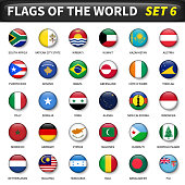 All flags of the world set 6 . Circle and convex design