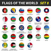 All flags of the world set 8 . Circle and concave design