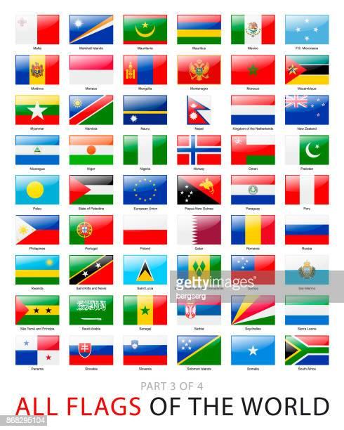 alle flaggen der welt. vektor-sammlung - monaco stock-grafiken, -clipart, -cartoons und -symbole