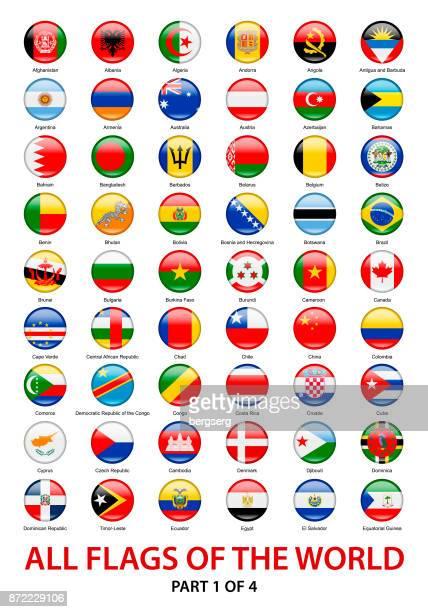 alle flaggen der welt. vektor runde symbolsammlung - bangladesh stock-grafiken, -clipart, -cartoons und -symbole