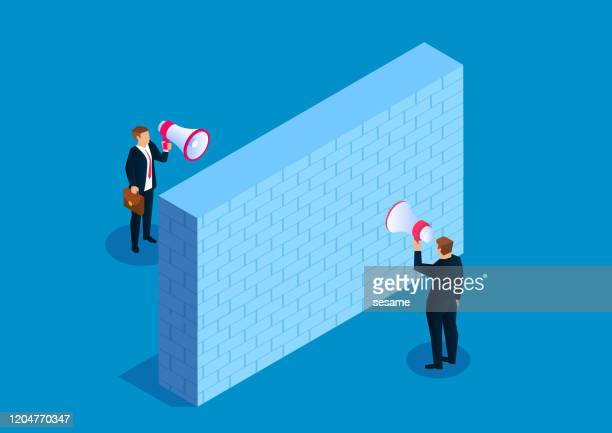 all hinders communication between two businessmen - unfairness stock illustrations