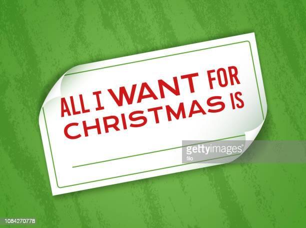 alles was, die ich zu weihnachten hinweis will - aufkleber stock-grafiken, -clipart, -cartoons und -symbole