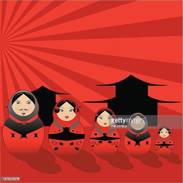 all in one 02, matrioska family japanese style - japanese mom stock illustrations, clip art, cartoons, & icons