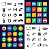 USA All in One Icons Black & White Color Flat Design Freehand Set