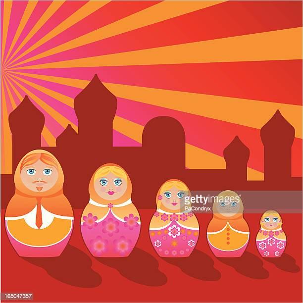 all in one - matrioska family - babushka stock illustrations