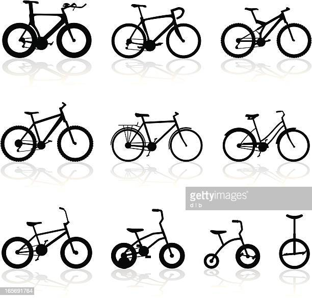 all kinds of bikes - racing bicycle stock illustrations