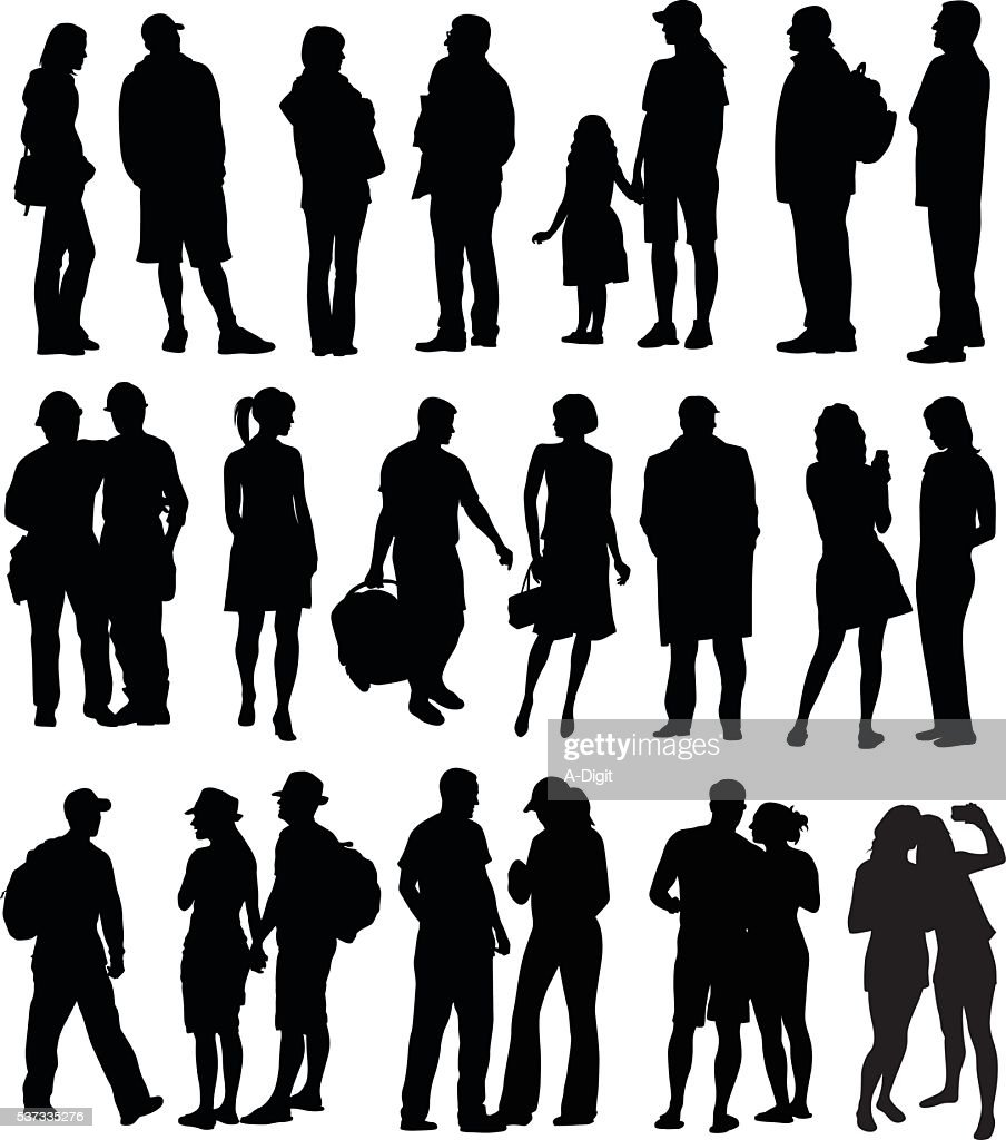 All Kinds Of People Silhouettes : stock illustration
