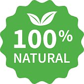 100% all natural stamp, label, sticker flat icon for products