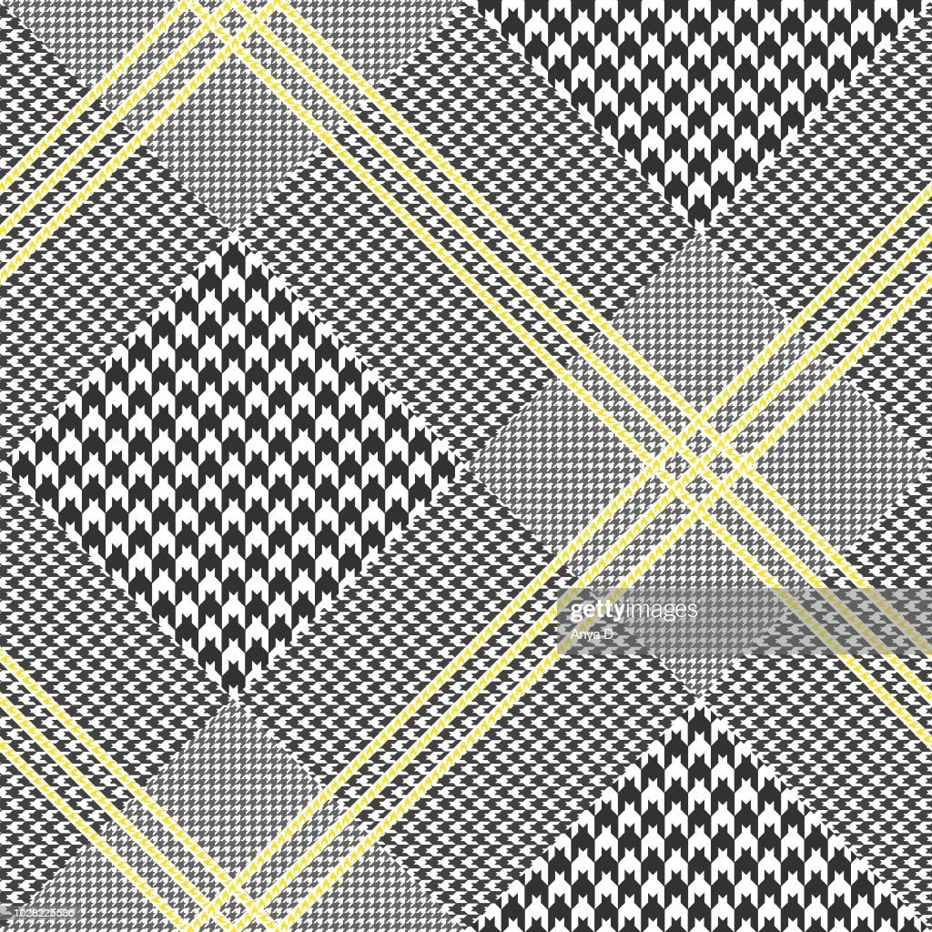 All over Prince of Wales check pattern in black and white with yellow overcheck