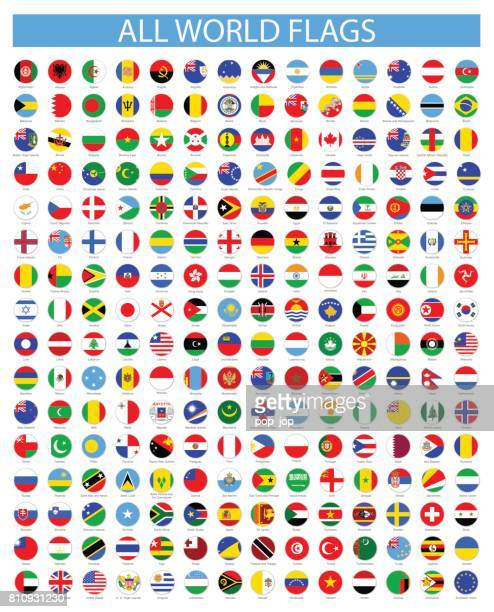 Tous les drapeaux du monde rond - Vector Icon Set