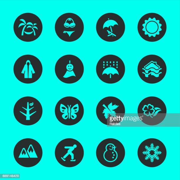 All Season Icons Set 1 - Black Circle Series