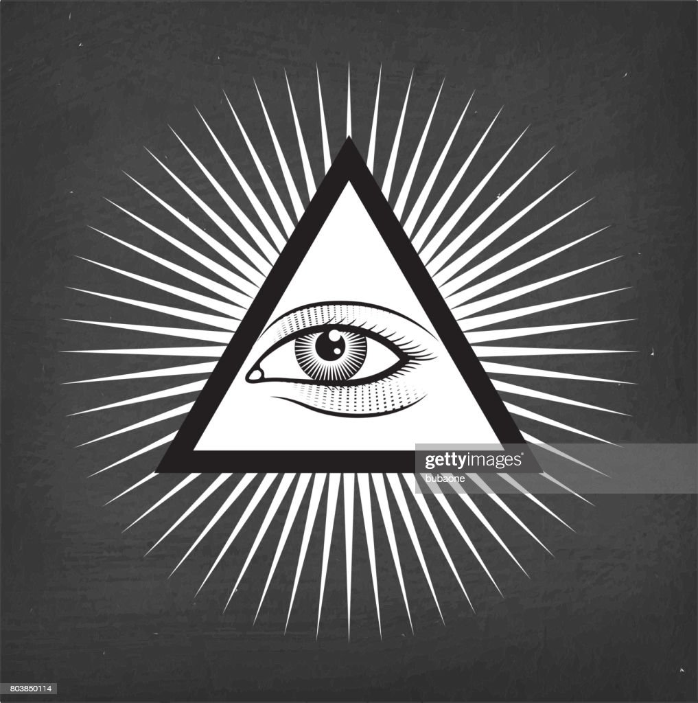 All Seeing Eye Pyramid On Chalk Board Background Vector Art