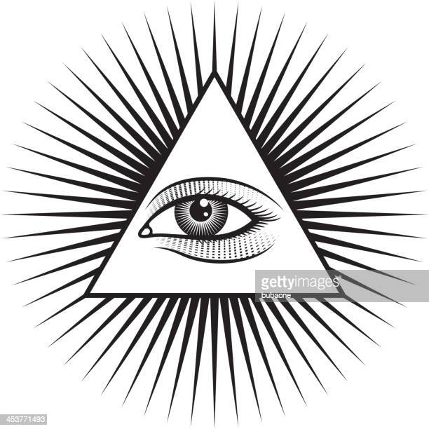 All Seeing Eye Pyramid on White Background