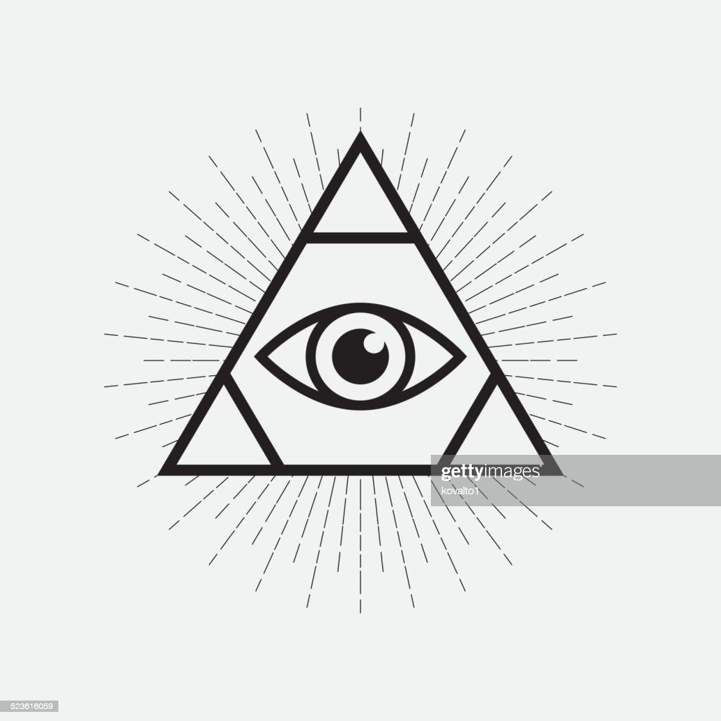 All Seeing Eye Symbol Triangle With Rays Vector Art Getty Images