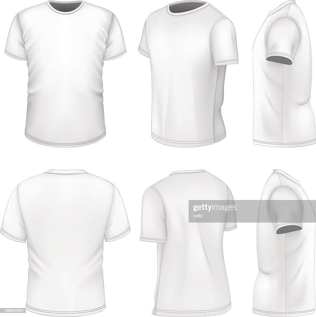 All six views men's white short sleeve t-shirt