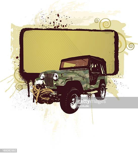 all terrain camo with banner - 4x4 stock illustrations, clip art, cartoons, & icons