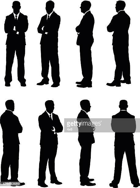 All views of businessman folding his arms