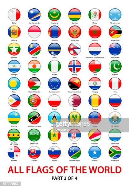 All Waving Flags of The World. Vector Round Icons Collection