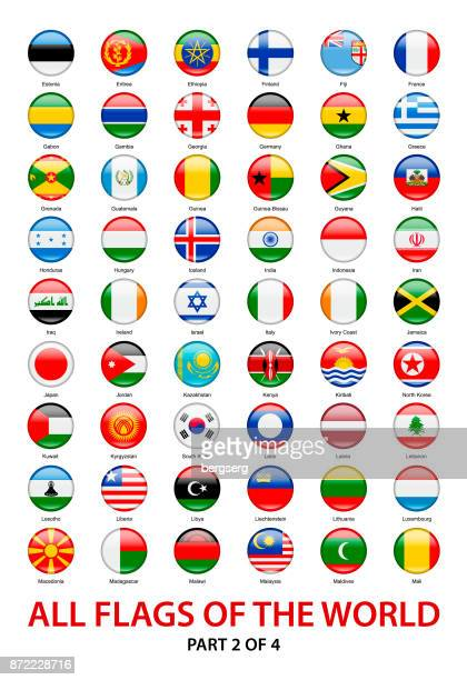 All Waving World Flags. Vector Round Icons Collection
